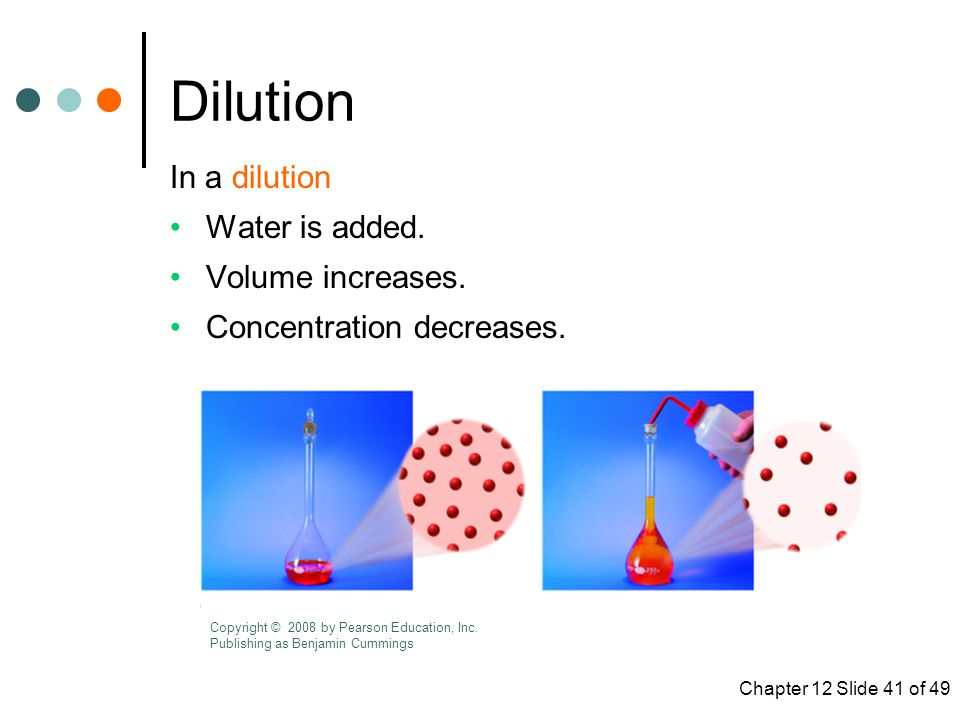 Chapter 12 Slide 41 of 49 Dilution In a dilution Water is added.