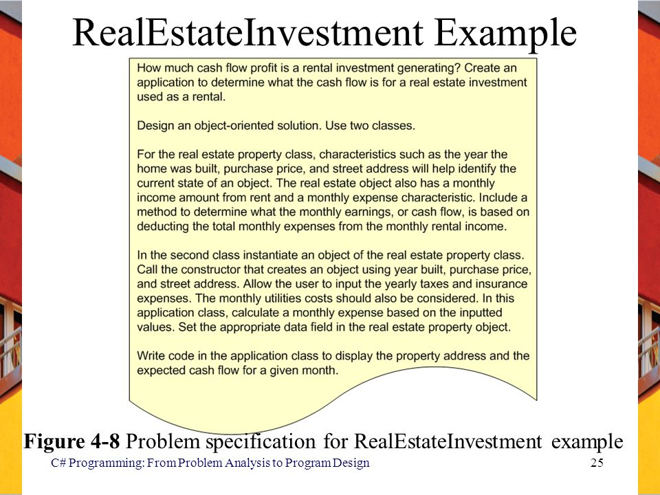 C# Programming: From Problem Analysis to Program Design25 RealEstateInvestment Example Figure 4-8 Problem specification for RealEstateInvestment example