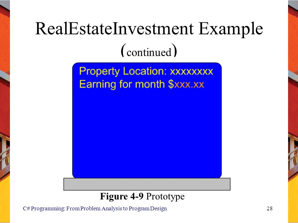C# Programming: From Problem Analysis to Program Design28 RealEstateInvestment Example ( continued ) Figure 4-9 Prototype