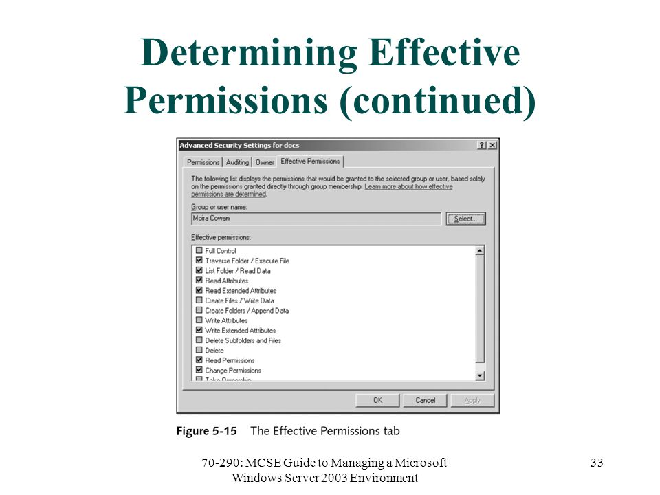 70-290: MCSE Guide to Managing a Microsoft Windows Server 2003 Environment 33 Determining Effective Permissions (continued)
