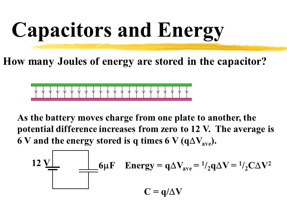 Capacitors and Energy How many Joules of energy are stored in the capacitor.