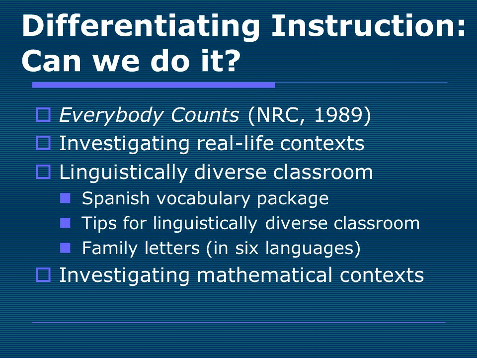 Differentiating Instruction: Can we do it.