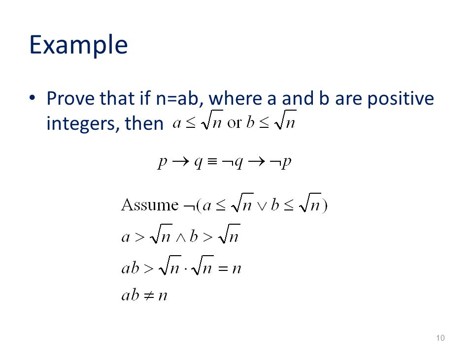 Example Prove that if n=ab, where a and b are positive integers, then 10