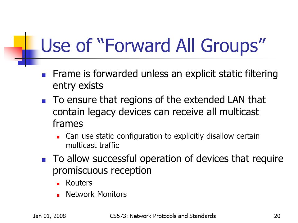 Jan 01, 2008CS573: Network Protocols and Standards20 Use of Forward All Groups Frame is forwarded unless an explicit static filtering entry exists To ensure that regions of the extended LAN that contain legacy devices can receive all multicast frames Can use static configuration to explicitly disallow certain multicast traffic To allow successful operation of devices that require promiscuous reception Routers Network Monitors