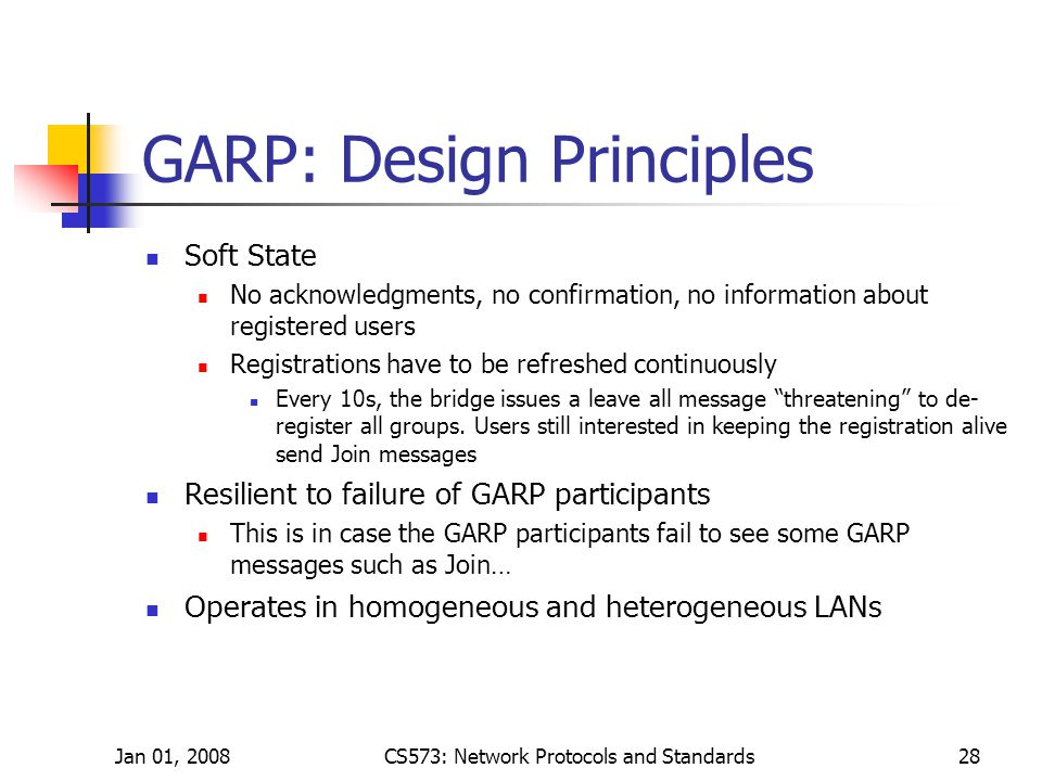 Jan 01, 2008CS573: Network Protocols and Standards28 GARP: Design Principles Soft State No acknowledgments, no confirmation, no information about registered users Registrations have to be refreshed continuously Every 10s, the bridge issues a leave all message threatening to de- register all groups.