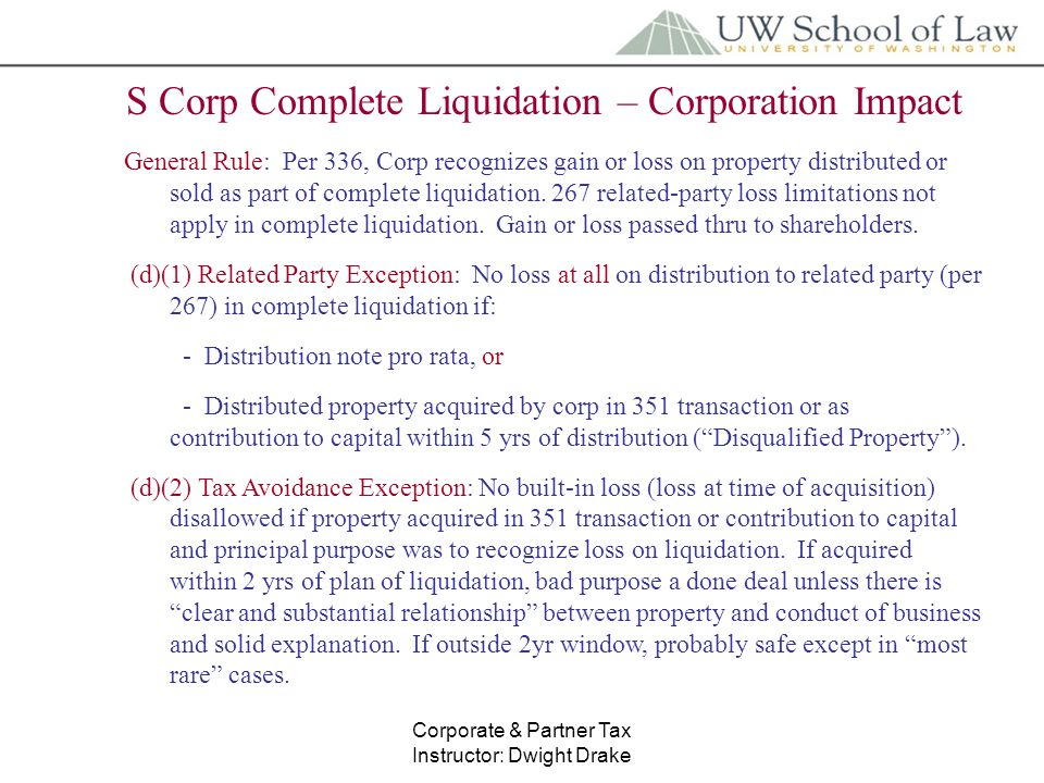 S corp liquidating distribution