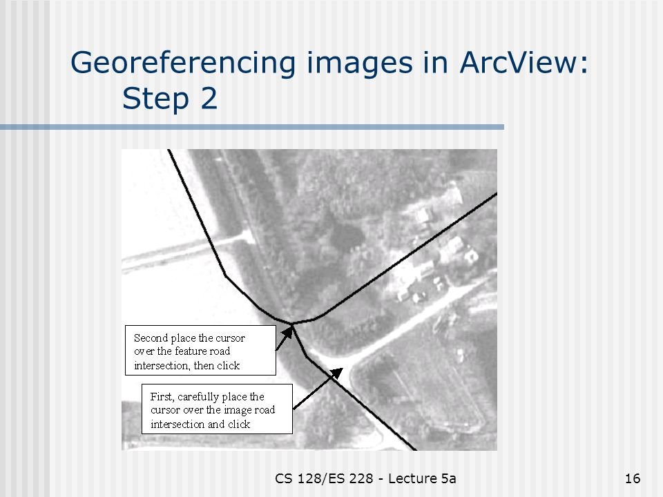 CS 128/ES Lecture 5a16 Georeferencing images in ArcView: Step 2