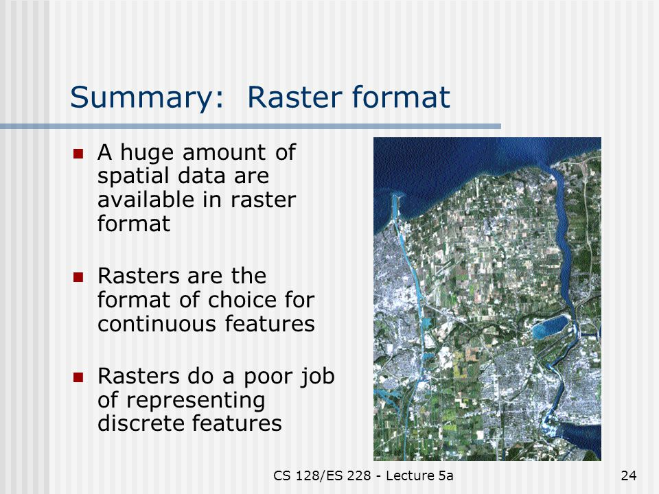 CS 128/ES Lecture 5a24 Summary: Raster format A huge amount of spatial data are available in raster format Rasters are the format of choice for continuous features Rasters do a poor job of representing discrete features