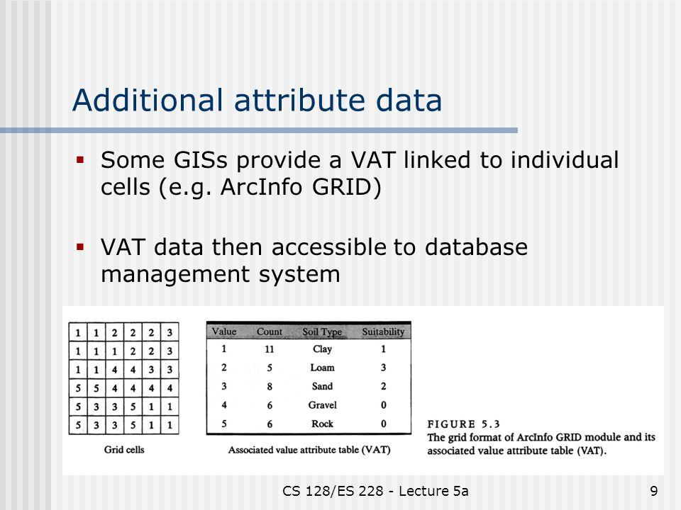 CS 128/ES Lecture 5a9 Additional attribute data  Some GISs provide a VAT linked to individual cells (e.g.