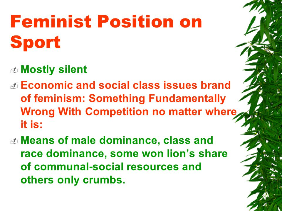 Feminist Position on Sport  Mostly silent  Economic and social class issues brand of feminism: Something Fundamentally Wrong With Competition no matter where it is:  Means of male dominance, class and race dominance, some won lion's share of communal-social resources and others only crumbs.