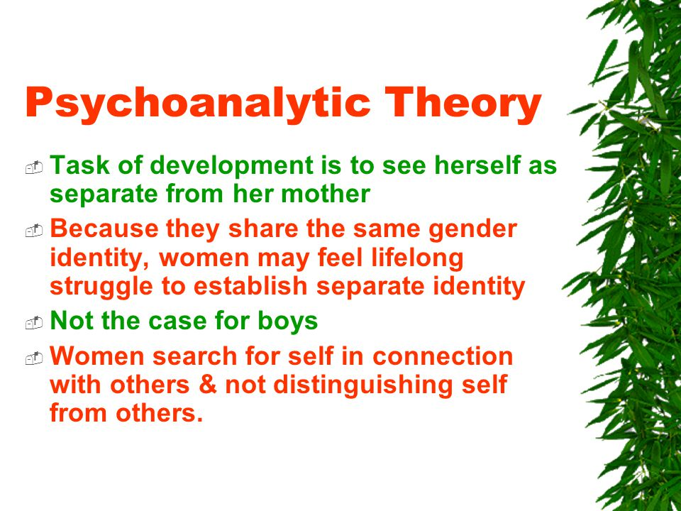 Psychoanalytic Theory  Task of development is to see herself as separate from her mother  Because they share the same gender identity, women may feel lifelong struggle to establish separate identity  Not the case for boys  Women search for self in connection with others & not distinguishing self from others.