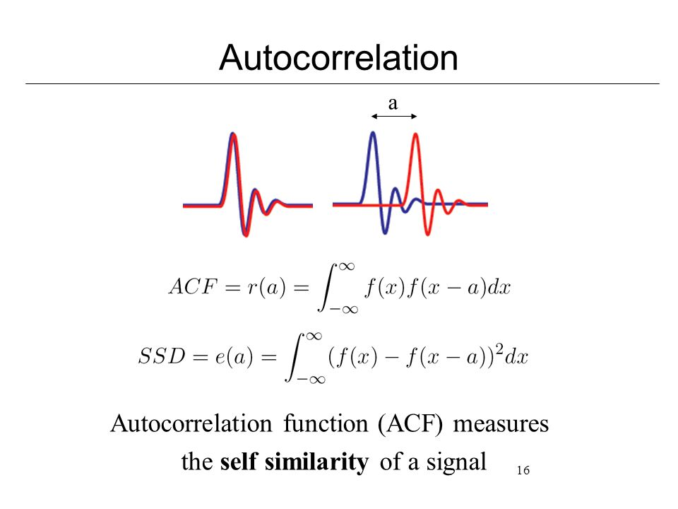 16 Autocorrelation a Autocorrelation function (ACF) measures the self similarity of a signal