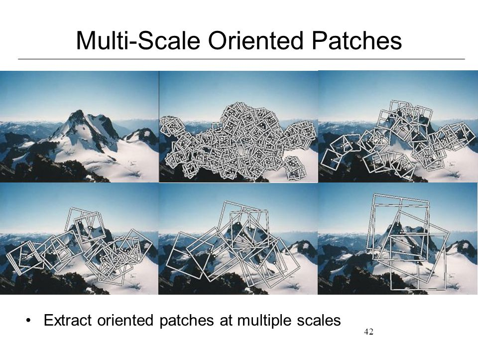 42 Multi-Scale Oriented Patches Extract oriented patches at multiple scales