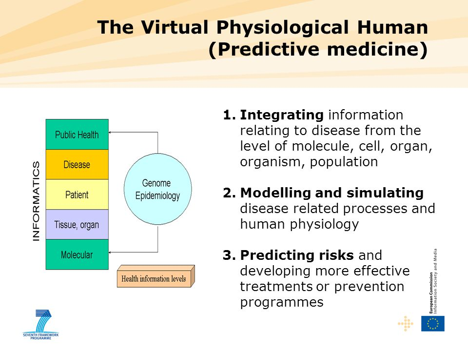 1.Integrating information relating to disease from the level of molecule, cell, organ, organism, population 2.Modelling and simulating disease related processes and human physiology 3.Predicting risks and developing more effective treatments or prevention programmes The Virtual Physiological Human (Predictive medicine)