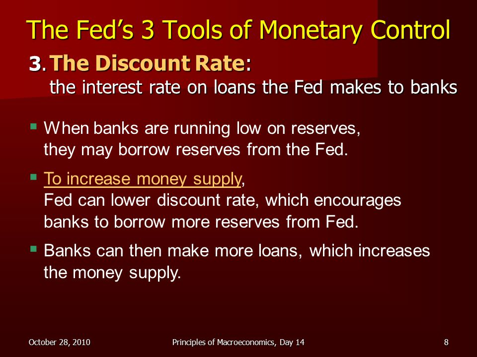 October 28, 2010Principles of Macroeconomics, Day 148 The Fed's 3 Tools of Monetary Control 3.