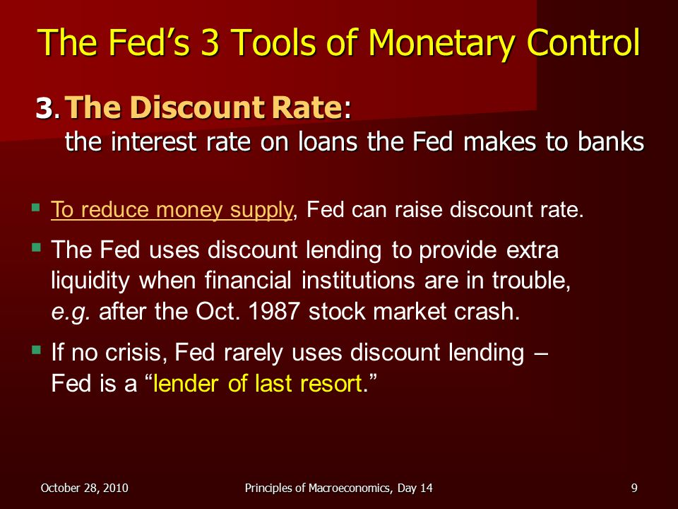 October 28, 2010Principles of Macroeconomics, Day 149 The Fed's 3 Tools of Monetary Control 3.