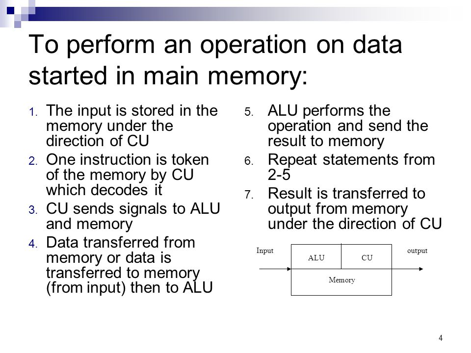 4 To perform an operation on data started in main memory: 1.