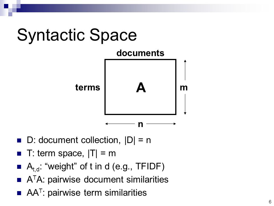 6 Syntactic Space D: document collection, |D| = n T: term space, |T| = m A t,d : weight of t in d (e.g., TFIDF) A T A: pairwise document similarities AA T : pairwise term similarities A m n terms documents