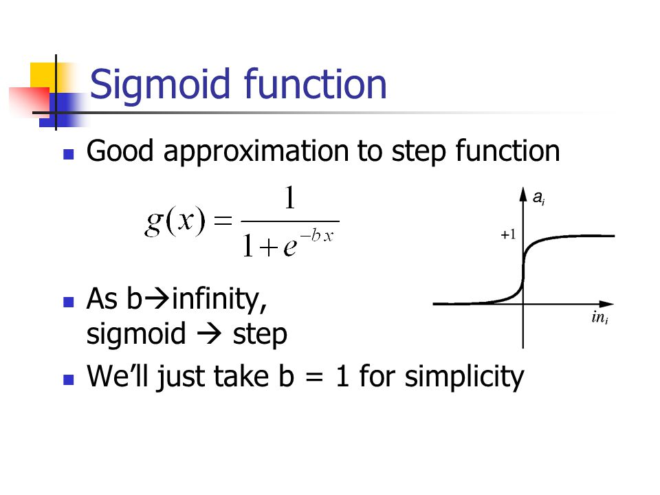 Sigmoid function Good approximation to step function As b  infinity, sigmoid  step We'll just take b = 1 for simplicity
