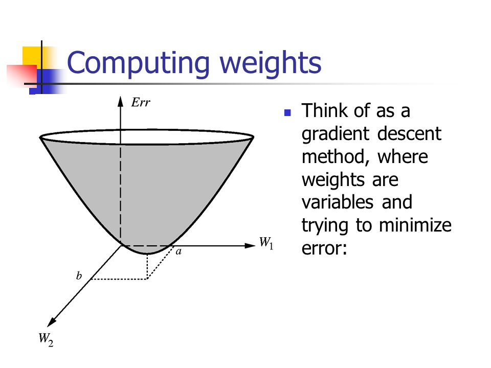 Computing weights Think of as a gradient descent method, where weights are variables and trying to minimize error: