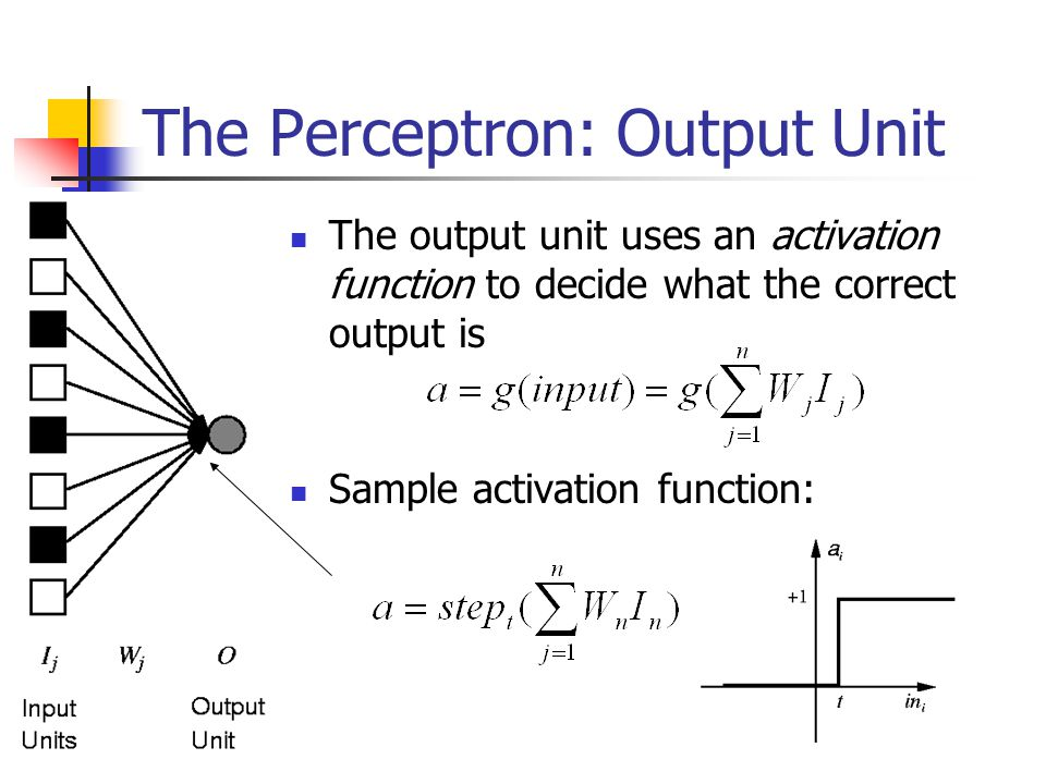 The Perceptron: Output Unit The output unit uses an activation function to decide what the correct output is Sample activation function: