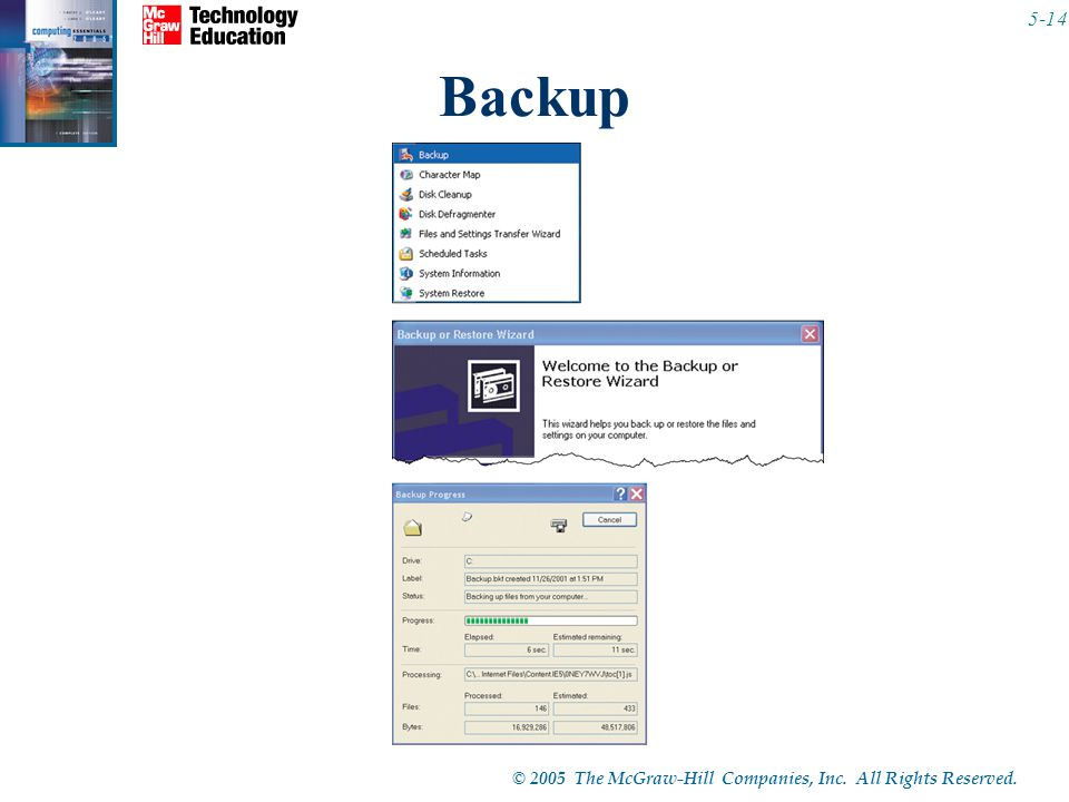 © 2005 The McGraw-Hill Companies, Inc. All Rights Reserved Backup