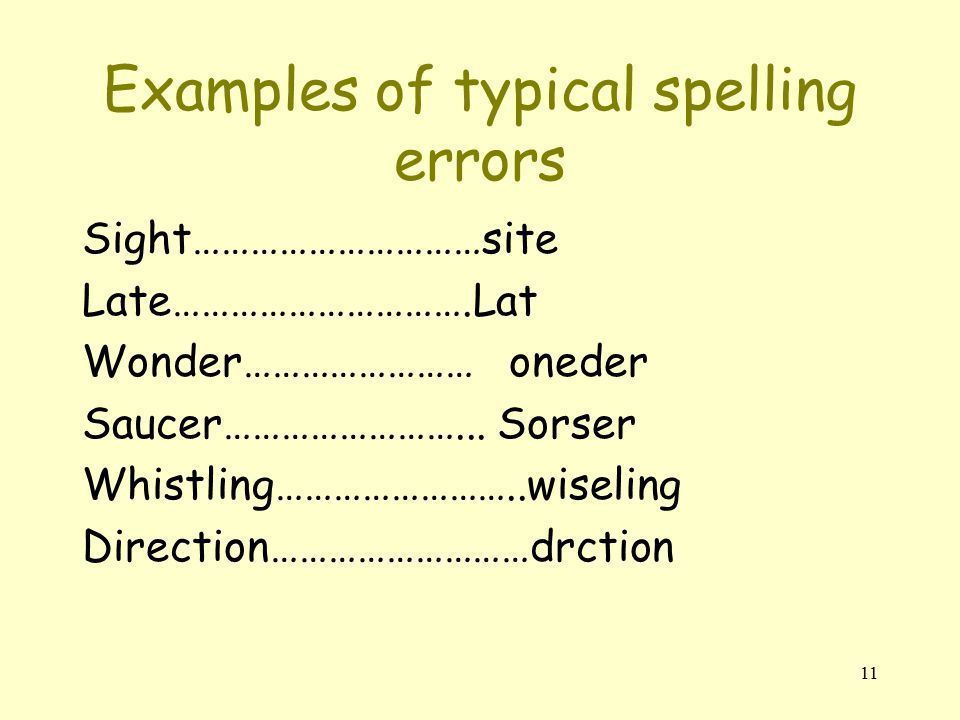 11 Examples of typical spelling errors Sight…………………………site Late………………………….Lat Wonder…………………… oneder Saucer……………………...