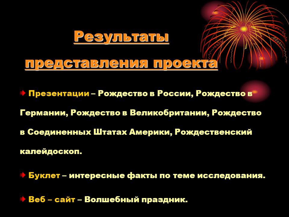 Результаты представления проекта Презентации – Рождество в России, Рождество в Германии, Рождество в Великобритании, Рождество в Соединенных Штатах Америки, Рождественский калейдоскоп.