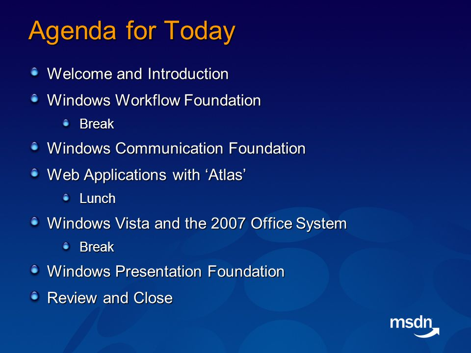 Agenda for Today Welcome and Introduction Windows Workflow Foundation Break Windows Communication Foundation Web Applications with 'Atlas' Lunch Windows Vista and the 2007 Office System Break Windows Presentation Foundation Review and Close
