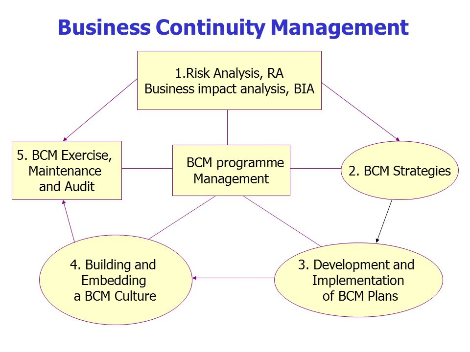 BCM programme Management 1.Risk Analysis, RA Business impact analysis, BIA 2.