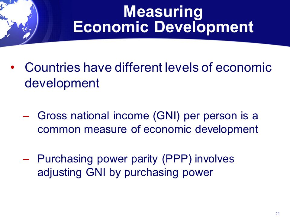 Measuring Economic Development Countries have different levels of economic development –Gross national income (GNI) per person is a common measure of economic development –Purchasing power parity (PPP) involves adjusting GNI by purchasing power 21