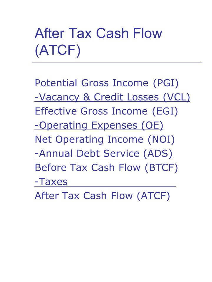 After Tax Cash Flow (ATCF) Potential Gross Income (PGI) -Vacancy & Credit Losses (VCL) Effective Gross Income (EGI) -Operating Expenses (OE) Net Operating Income (NOI) -Annual Debt Service (ADS) Before Tax Cash Flow (BTCF) -Taxes After Tax Cash Flow (ATCF)