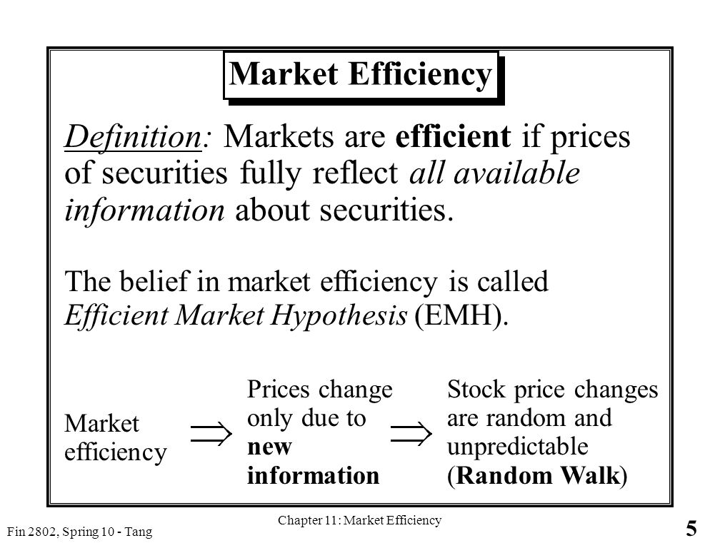 Great 5 Fin 2802, Spring 10   Tang Chapter 11: Market Efficiency Market Efficiency  Definition