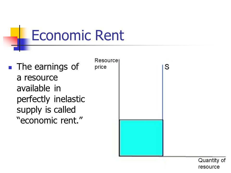 Economic Rent The earnings of a resource available in perfectly inelastic supply is called economic rent.