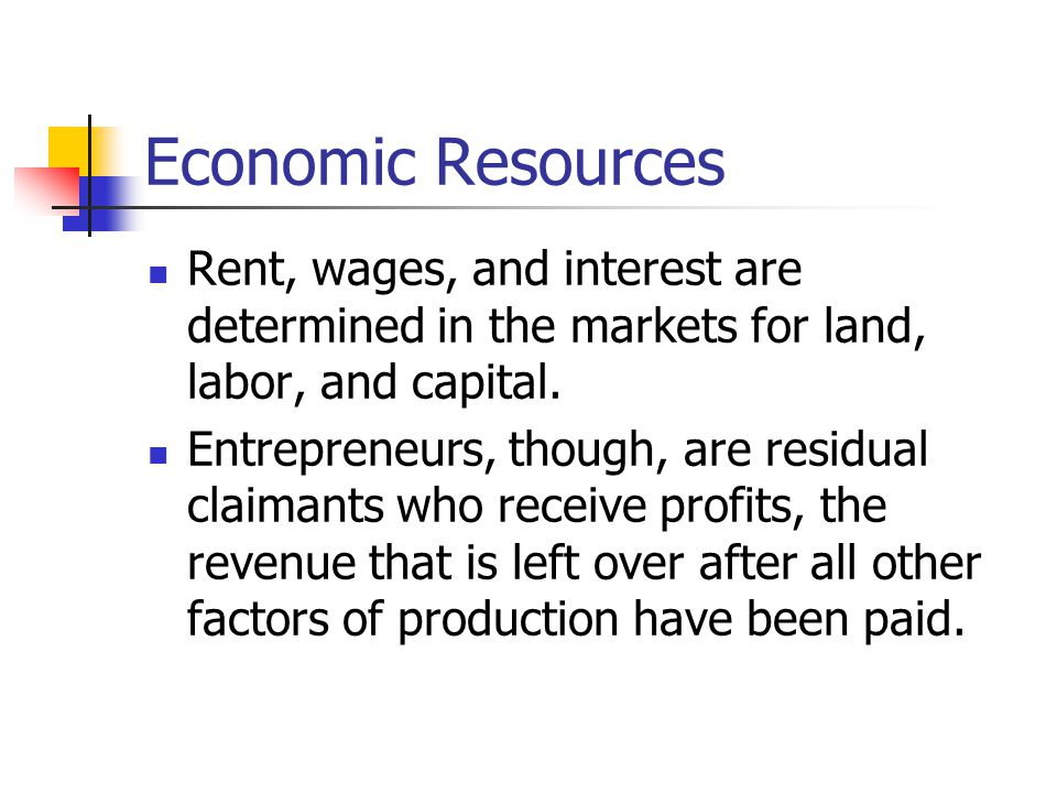 Economic Resources Rent, wages, and interest are determined in the markets for land, labor, and capital.