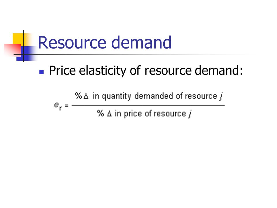 Resource demand Price elasticity of resource demand: