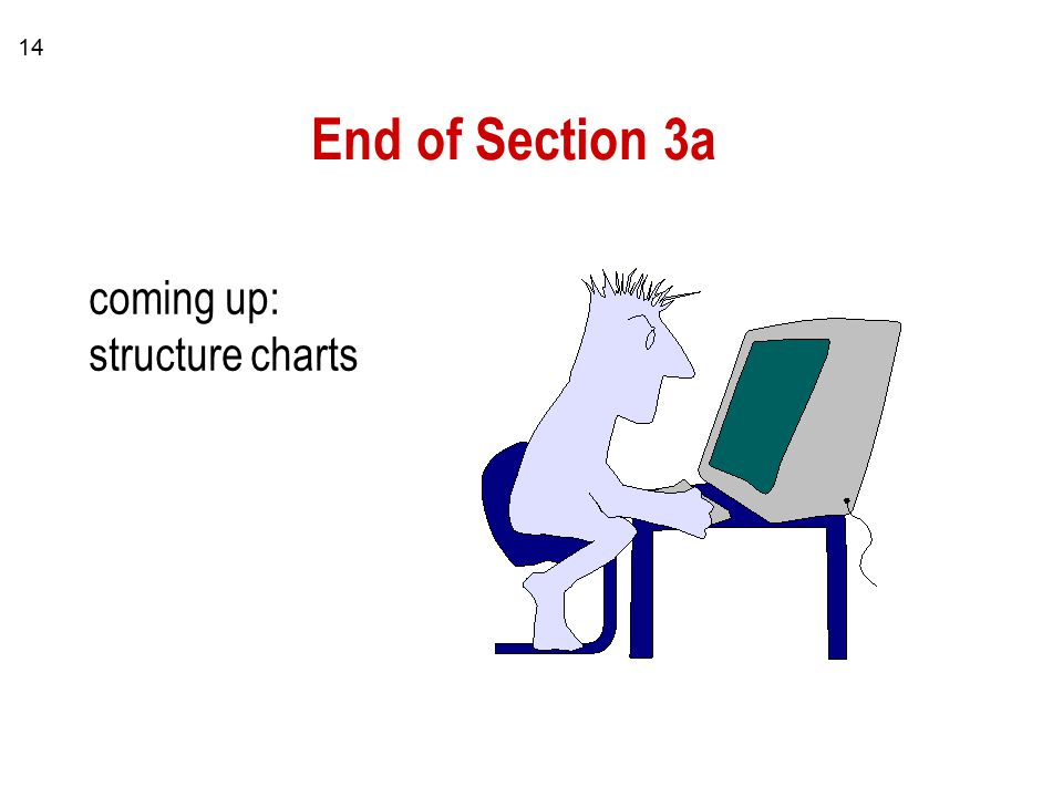 14 End of Section 3a coming up: structure charts