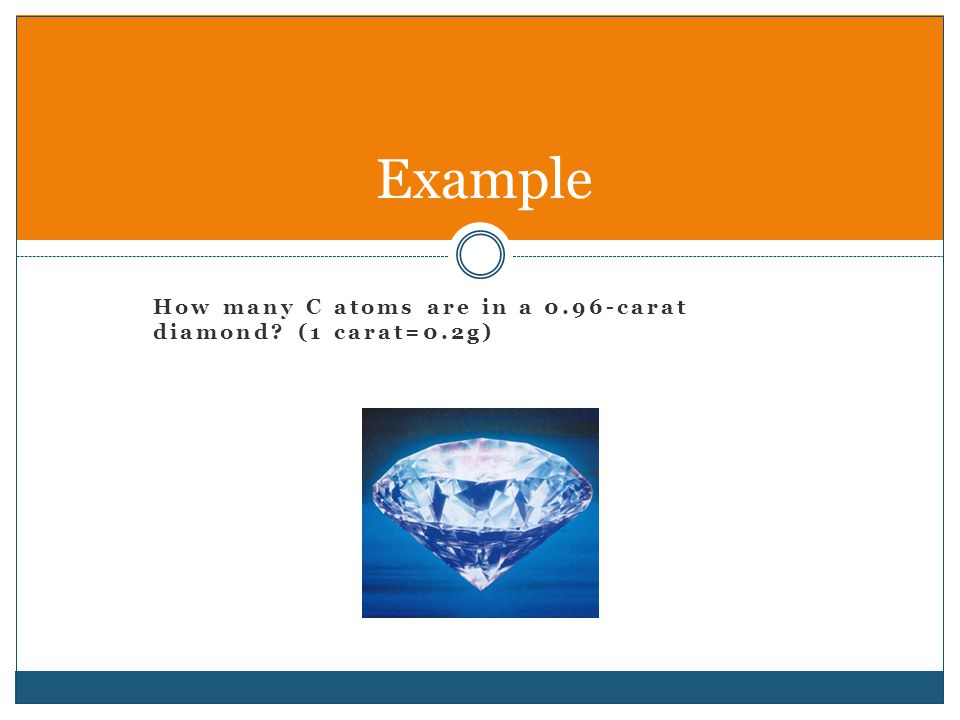 How many C atoms are in a 0.96-carat diamond (1 carat=0.2g) Example