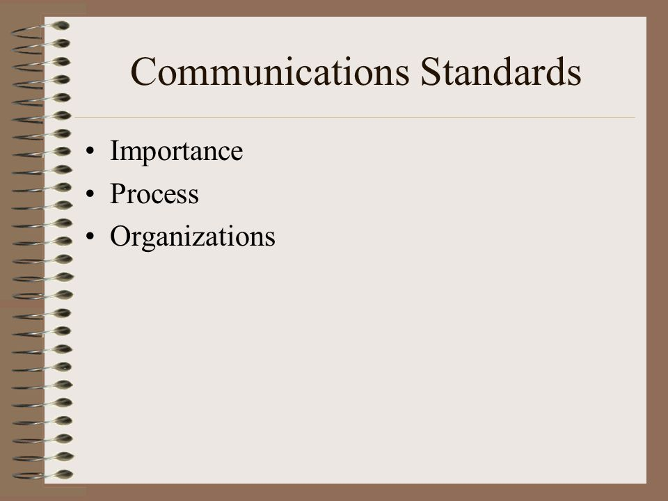 Communications Standards Importance Process Organizations