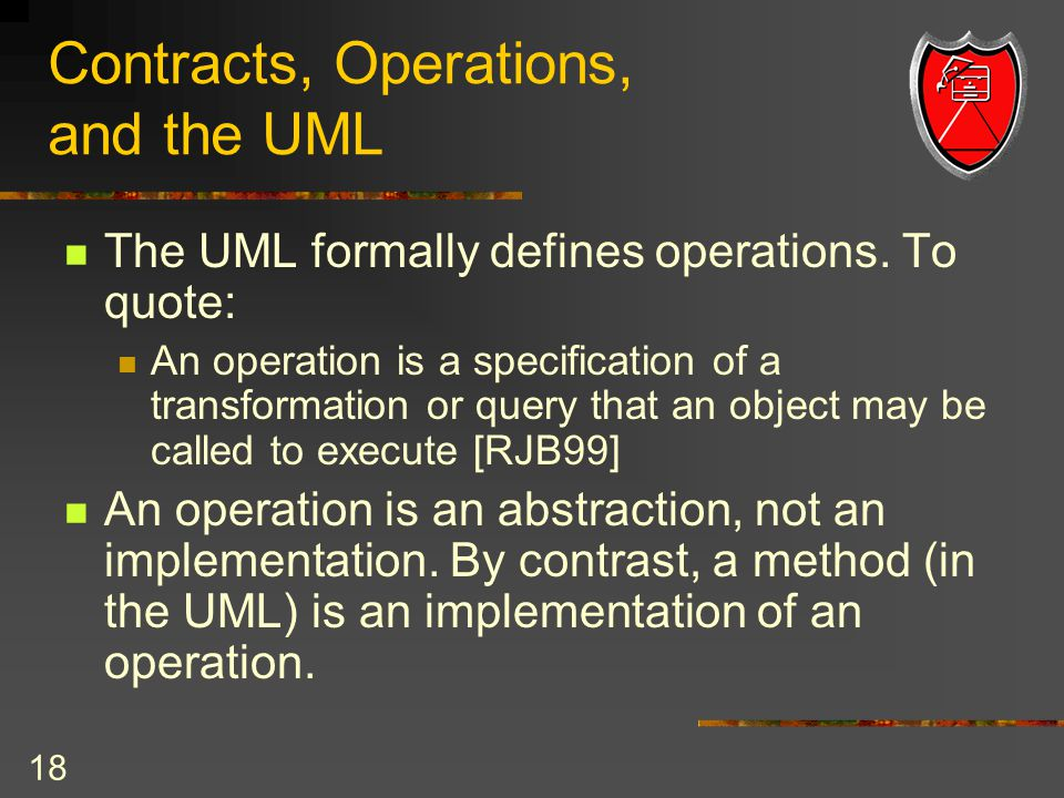 18 Contracts, Operations, and the UML The UML formally defines operations.