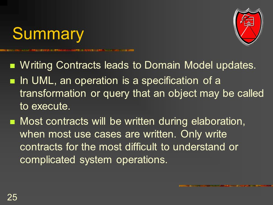 25 Summary Writing Contracts leads to Domain Model updates.