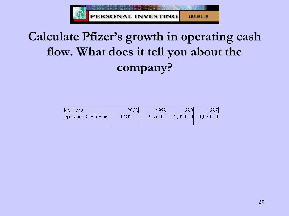 20 Calculate Pfizer's growth in operating cash flow. What does it tell you about the company