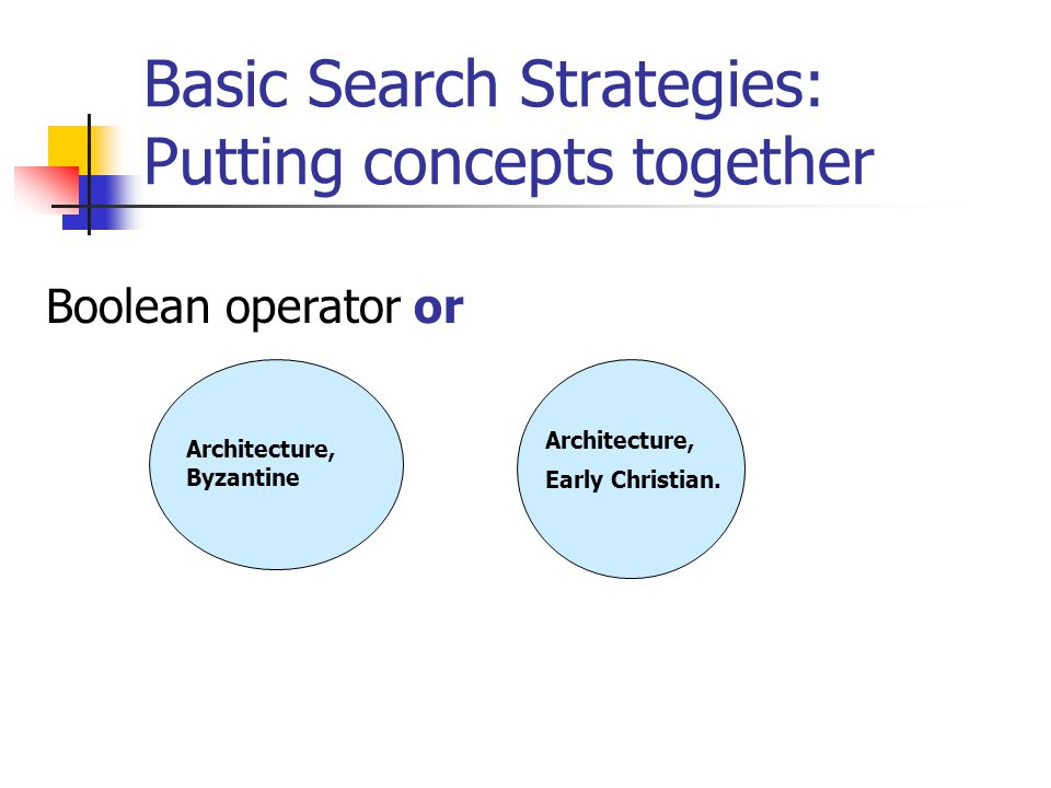 Basic Search Strategies: Putting concepts together Boolean operator and Venn diagrams serve as a visual expression of the Boolean operations Filippo Tommaso Marinetti Futurism
