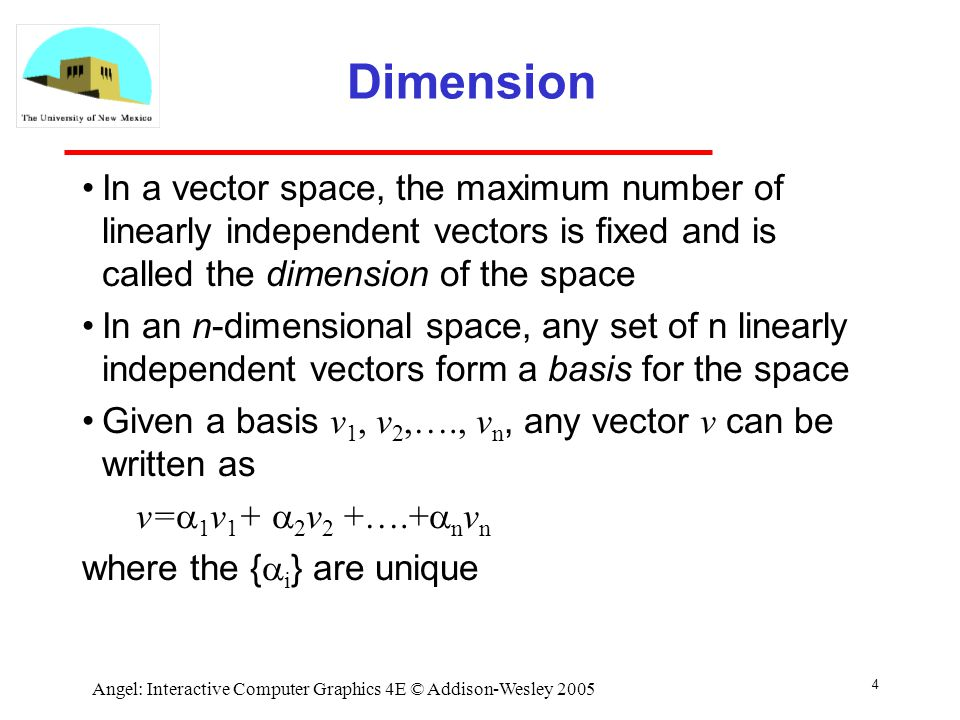 Vector space dimension and basis