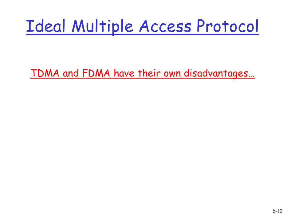 5-10 Ideal Multiple Access Protocol TDMA and FDMA have their own disadvantages…