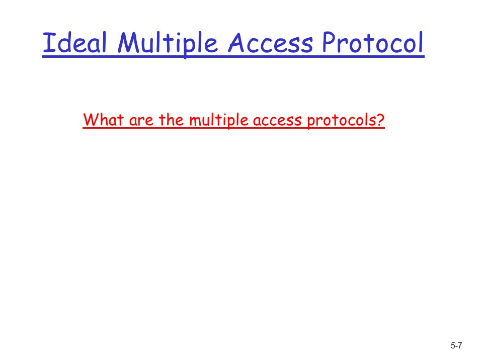 5-7 Ideal Multiple Access Protocol What are the multiple access protocols