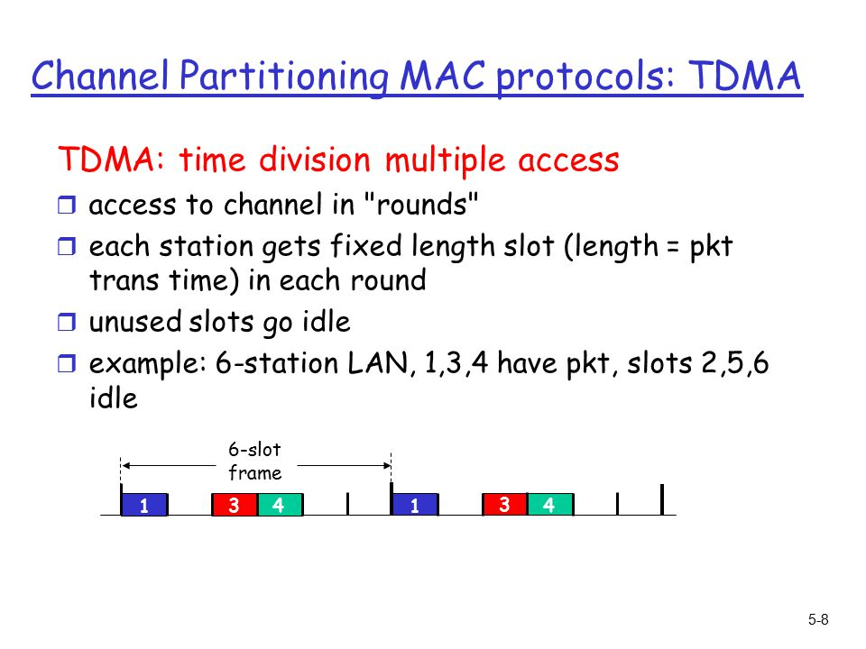 5-8 Channel Partitioning MAC protocols: TDMA TDMA: time division multiple access r access to channel in rounds r each station gets fixed length slot (length = pkt trans time) in each round r unused slots go idle r example: 6-station LAN, 1,3,4 have pkt, slots 2,5,6 idle slot frame
