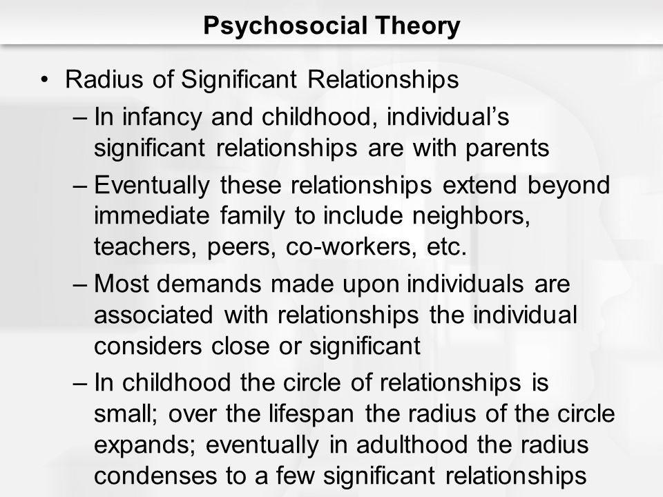 Radius of Significant Relationships –In infancy and childhood, individual's significant relationships are with parents –Eventually these relationships