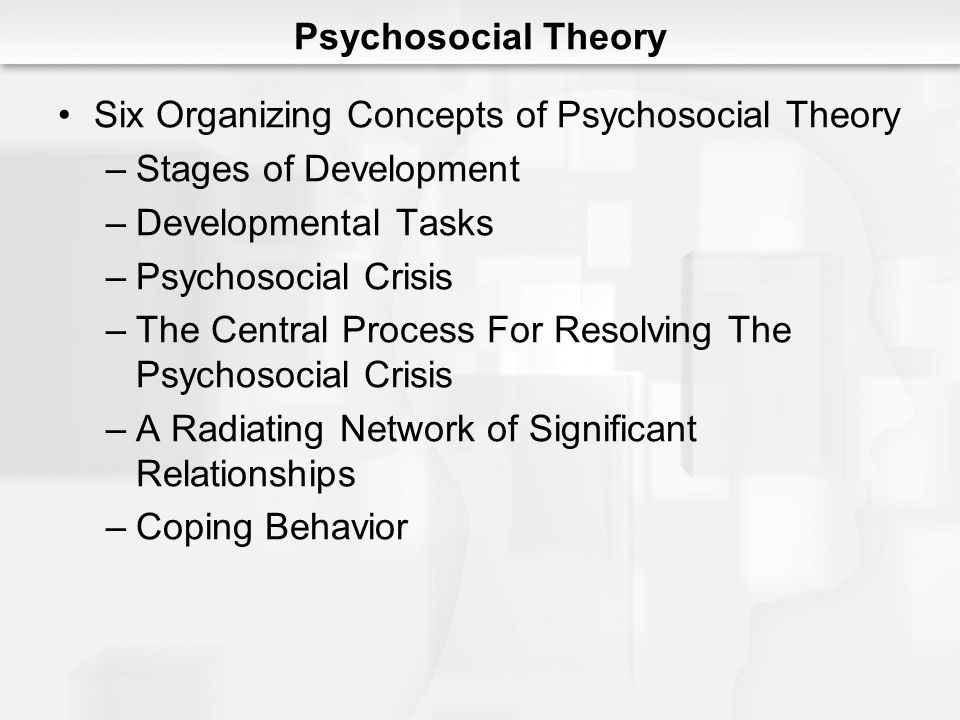 Psychosocial Theory Six Organizing Concepts of Psychosocial Theory –Stages of Development –Developmental Tasks –Psychosocial Crisis –The Central Proce