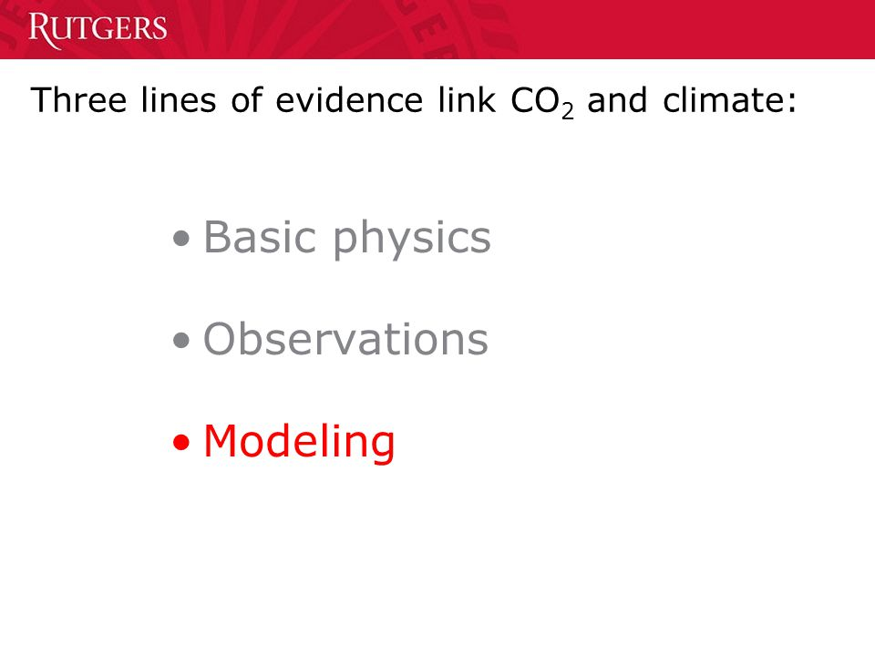 Three lines of evidence link CO 2 and climate: Basic physics Observations Modeling